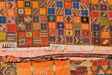 Colorful carpets in Jamaa el Fna Square, Marrakech