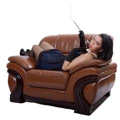 Retro woman on chair
