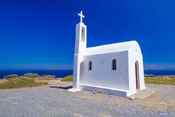 White church on the coast of Crete in Greece