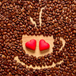 coffee beans cup and two heart