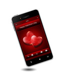 mobile phone with valentine's day wishes