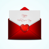 valentines card in red envelope