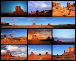 Collage showing different views of Monument Valley