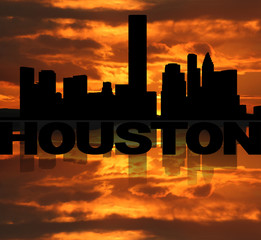 Houston skyline reflected with text and sunset illustration