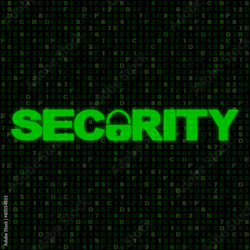 Green Security text with closed padlock on hex code illustration