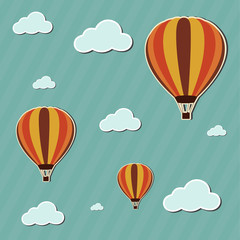 Vector illustration hot air balloons on-the cloudy sky