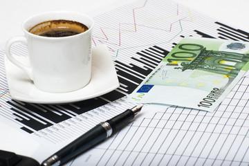 euro boligrafo y cafe