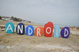 Android, operating system on colourful stones