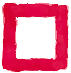 Red Watercolor Square Frame Border White Copy Space