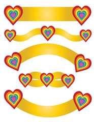 Golden Pack Tape with hearts