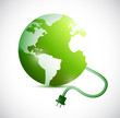green globe and cable connection. illustration