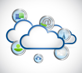 cloud and icons illustration design