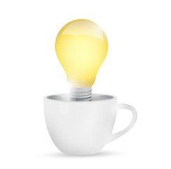 mug and idea light bulb illustration design