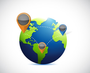 globe and locator illustration design