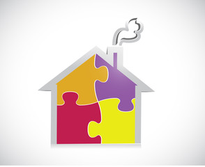 puzzle home illustration design
