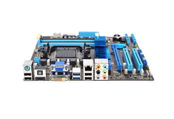 Printed computer motherboard, isolated on a white background