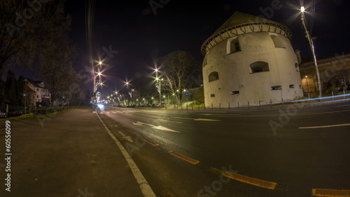 Hermannstadt night traffic time lapse fisheye
