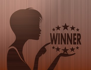 noble woman silhouette with winner