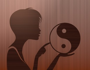 noble woman silhouette with ying yang