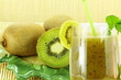 kiwi fruit juice and kiwi fruit closeup