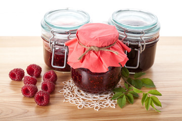 Raspberry jams and marmalade
