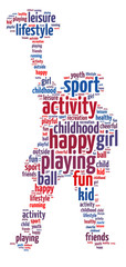 Words illustration of happy youth playing sports