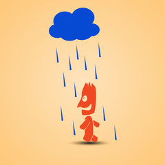 smiling man walking with rain