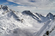 Aerial view of snow covered alps mountain in winter