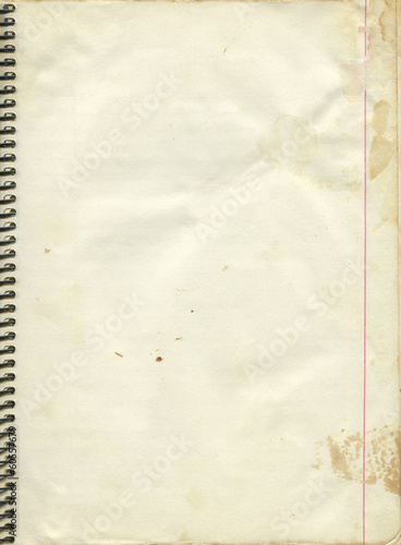 Blank paper page from old spiral notebook