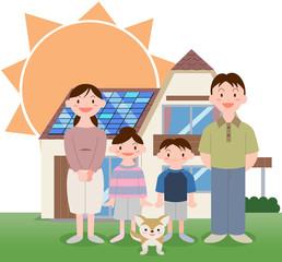 太陽光発電住宅家族