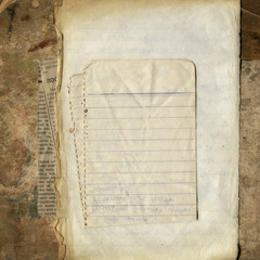 Blank papers on grunge cardboard, vintage background