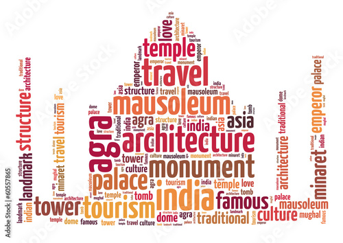 Words illustration of the famous Taj Mahal in India