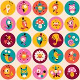 Fototapeta flowers, birds, mushrooms & snails characters circles pattern