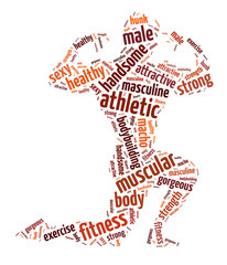 Words illustration of the bodybuilder over white background