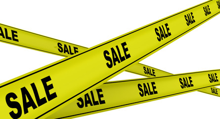 Yellow ribbons with the inscription SALE