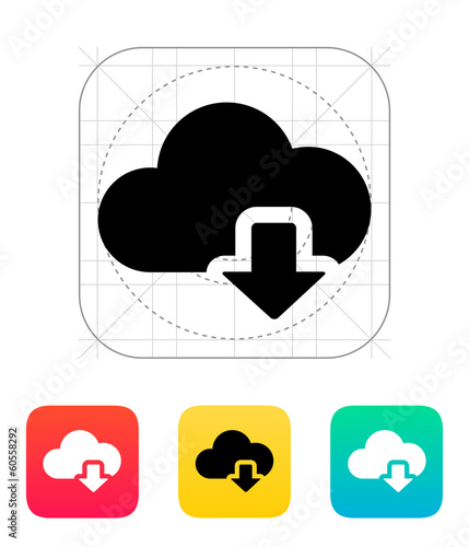 Cloud computing download icon.