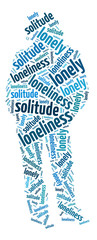 Conceptual words illustration of the loneliness