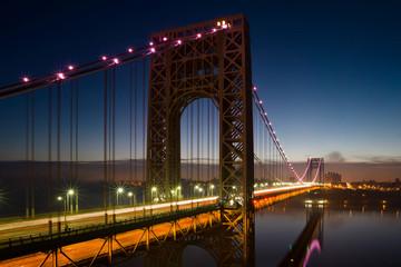 George Washington Bridge lit up in pink