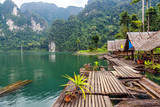 Floating village on Lake Cheo lan in Thailand