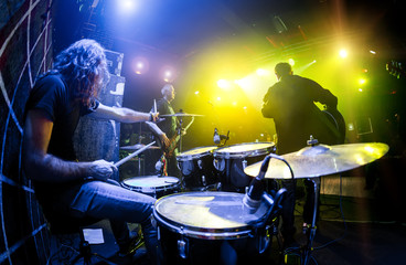 musicians play on stage