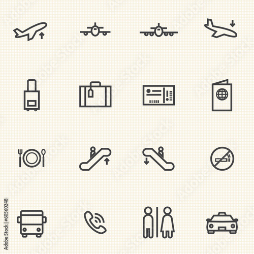 Simple Stroked Airport icon sets. Line icons.