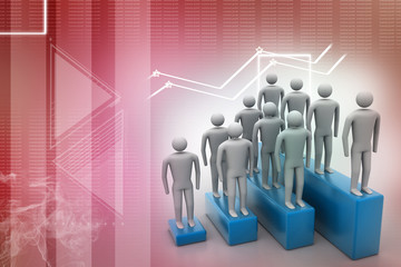 3d people in group, leadership concept