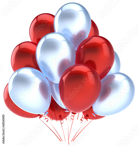 Balloons birthday party decoration red silver balloon