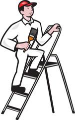 House Painter Standing on Ladder Cartoon