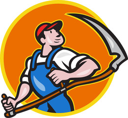 Farmer Worker Holding Scythe Circle Cartoon