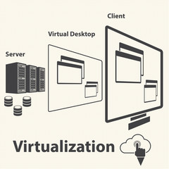 Virtualization computing and Data management concept. Vector