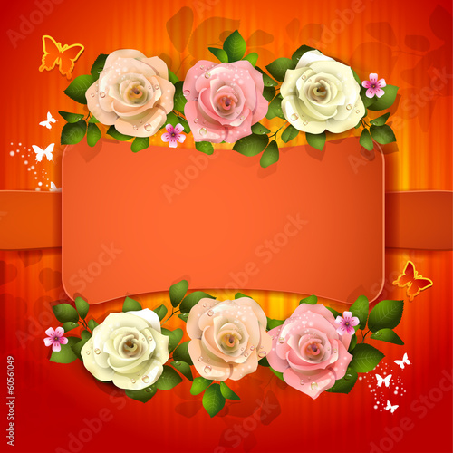 Red background with roses