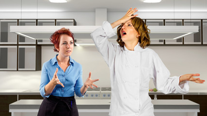 young waitress and chef fighting in a kitchen