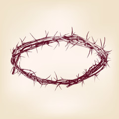 crown of thorns hand drawn vector llustration realistic sketch