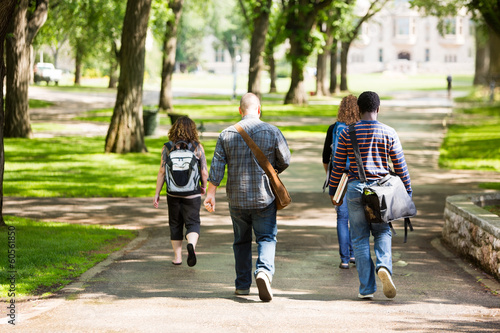 University Students Walking On Campus Road - 60561850